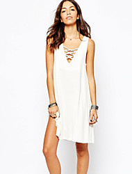 Women's Solid White Dress (cotton)