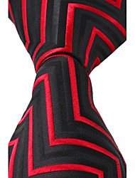 New Black Red Jacquard Silk Men Business Suit Necktie Tie