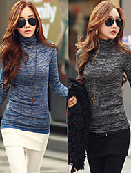 YKK Women's Solid Color Blue / Black Tops & Blouses , Bodycon High-Neck Long Sleeve