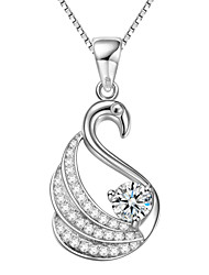 925 Sterling Silver Swan Shape Pendant Necklace with CZ Stone