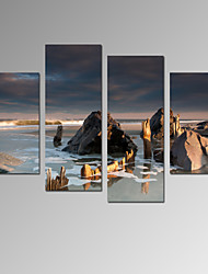 VISUAL STAR®Sea Sunrise Canvas Art for Home Decor 4 Panel Beach Scenery Wall Picture Ready to Hang