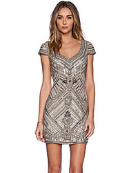 Women's Print Silver Dress , Sexy V Neck Short Sleeve