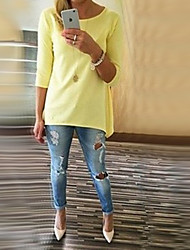 Women's Solid Pink / Green / Yellow T-shirt , Round Neck ¾ Sleeve