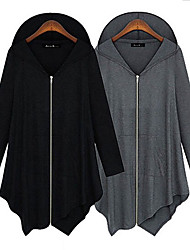 Large size Women's Solid Color Black Coats & Jackets , Casual Asymmetrical Long Sleeve