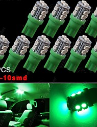 10X Vivid Green T10 Wedge 10-SMD LED Interior Light W5W 2825 158 192 168 194 906