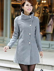 Women's OL Fashion Stand Trench Coat with Buttons , Casual / Work Long Sleeve