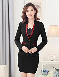 Women's Solid Red / Black / Purple Blazer , Sexy / Bodycon / Work Deep V Long Sleeve (Suit + Dress)