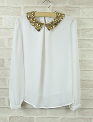 Women's Solid White / Black / Beige Blouse , Shirt Collar Long Sleeve