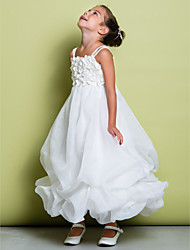 Lanting Bride A-line Ankle-length Flower Girl Dress - Organza Sleeveless Straps with Flower(s)