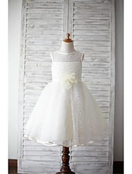 A-line Knee-length Flower Girl Dress - Lace Sleeveless Jewel with