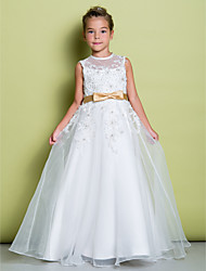 A-line Floor-length Flower Girl Dress - Organza Jewel with Appliques