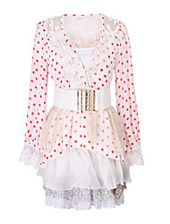 Women's Polka Dot / Patchwork / Lace Pink / Beige Suits , Casual V-Neck Long Sleeve