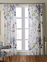 Premium Top Shang Collection Soft Natural Linen Curtain Drapery Lotus Bird One Panel