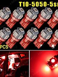 10x t10 rouge pur 5SMD 5050 LED voiture dôme licence carte lumière W5W 158 192 194 168