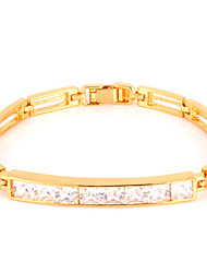 Vogue Luxury AAA+ Zirconia Cubic Bracelet Bangle 18K Gold Platinum Plated Jewelry Gift for Women High Quality 17CM