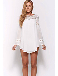 Women's Party/Cocktail Loose Dress Round Neck Mini Long Sleeve White Cotton Fall