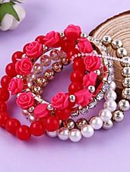 Lady Fashion Jewelry Bead Rhinestone Multilayer Red Bracelet