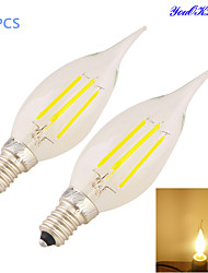 YouOKLight® 2PCS E14 4xCOB 4W 400LM Warm White Edison long tail Candle Bulbs LED Filament/chandelier Light(220-240V)