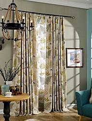 dois painéis de folha marrom país verde de linho quarto cortinas de painel de mistura de algodão cortinas