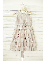 A-line Knee-length Flower Girl Dress - Chiffon Lace Jewel with Flower(s) Sash / Ribbon