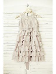 Vestido de menina de flor de joelho com uma linha de joias - Bolso de jóia sem molho de renda chiffon com flor