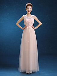 Floor-length Tulle Bridesmaid Dress - Sheath / Column Scoop with Sash / Ribbon