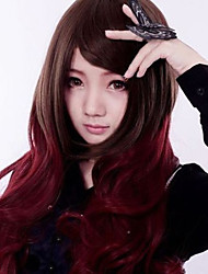 Long Lolita Hair Cosplay Party Wig Brown Mixed Red Full Synthetic Wig