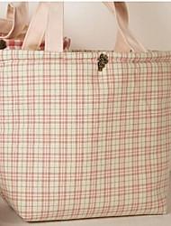 Women Cotton Shopper Tote - Green / Red