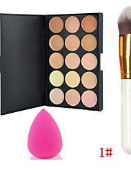 15 Colors Makeup Concealer/2Colors Powder Palette + 1PCS Powder Blush Brush+Foundation Sponge Blender Blending Puff