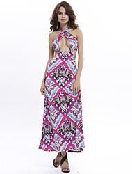 Women's Sexy / Bohemia Print Off Shoulder Halter Maxi Dress