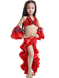 Belly Dance Outfits Children's Performance Satin / Milk Fiber Ruffles 4 Pieces Fuchsia / Green / Red Belly DanceSpring, Fall, Winter,