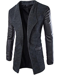 Men's Solid Casual Trench coat,Tweed Long Sleeve-Black / Gray