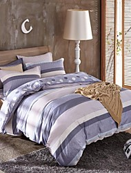 Blue Strip & Dot Heart Cotton Bedding Set Of 4pcs Four Seasons Use