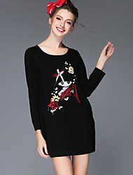 Women Clothing Autumn Winter Fashion Vintage Bead Sequins Embroidery Loose Long Sleeve Dress