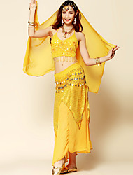 Belly Dance Outfits Women's Performance Chiffon / Chinlon Sequins / Tassel(s) 4 Pieces Fuchsia / Red / Yellow Belly Dance / Performance