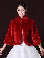 Fur Wraps / Fur Coats Coats/Jackets 3/4-Length Sleeve Faux Fur Burgundy Wedding / Party/Evening High Neck 31cm Hidden Clasp