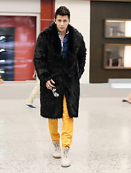 Men's Fashion Faux Fur  Long Sleeve Coat
