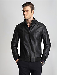 Men's Motorcycle Leather Clothing Short Slim Design Stand Collar Leather Jacket Autumn And Winter Outerwear