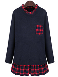 Casual Plus Sizes Women's Collar Long Sleeve Plaid Stitching Solid Navy Blue  Long Blouse Mini Dress