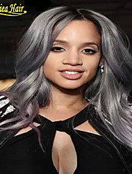 Free shiping Brazilian Ombre Human Lace Front Wig Black Grey Lace Front Wig Two Tone Gray Human Hair Wigs Full Lace Wig