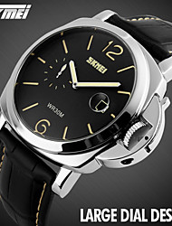 SKMEI® Men's Fashion Large Dial Dress Watch Second Dial Leather Strap