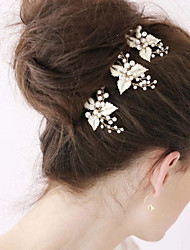The New Bride High-End Tire Pure Manual U Hair Fork Golden Crystal Diamond 3PCS