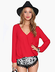 Women's Wild V Neck Solid Color Long Sleeve Chiffon Blouse