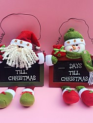 "35CM/13.7"" 2pcs/set Christmas Santa Claus Snowman Countdown Blackboard Hanging Tree Decor Wood Door hanging Ornaments"