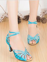 Customizable Women's Dance Shoes Latin Leather Stiletto Heel Black / Blue