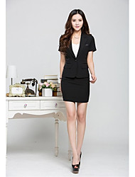 Women's Solid Red / Black Blazer , Work Deep V Short Sleeve