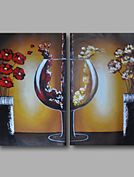 Ready to Hand Stretched Hand-Painted Oil Painting Canvas Modern Dinning Room Brown Home Deco Two Panels
