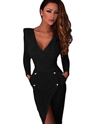 2016 double-breasted deep V-neck halter dress tight-fitting long-sleeved irregular hem split