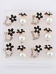 Stud Earrings Pearl Imitation Pearl Rhinestone Alloy Fashion White Black Jewelry 2pcs