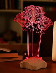 25*10.5*10.5CM 220V 130CM USB Line The Transparent Acrylic 3 D Luminous Glow Plates Rose Desk Lamp Light Led